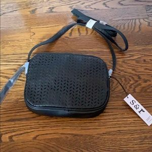 Black faux leather side purse